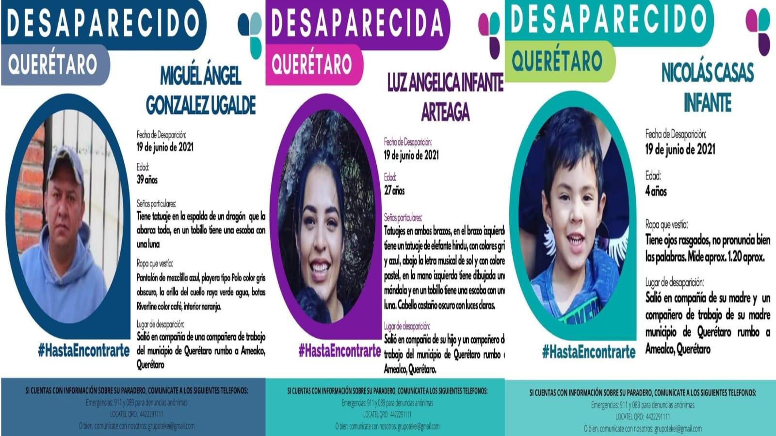 Fiscalía de Querétaro continua búsqueda de personas que viajaban a Amealco