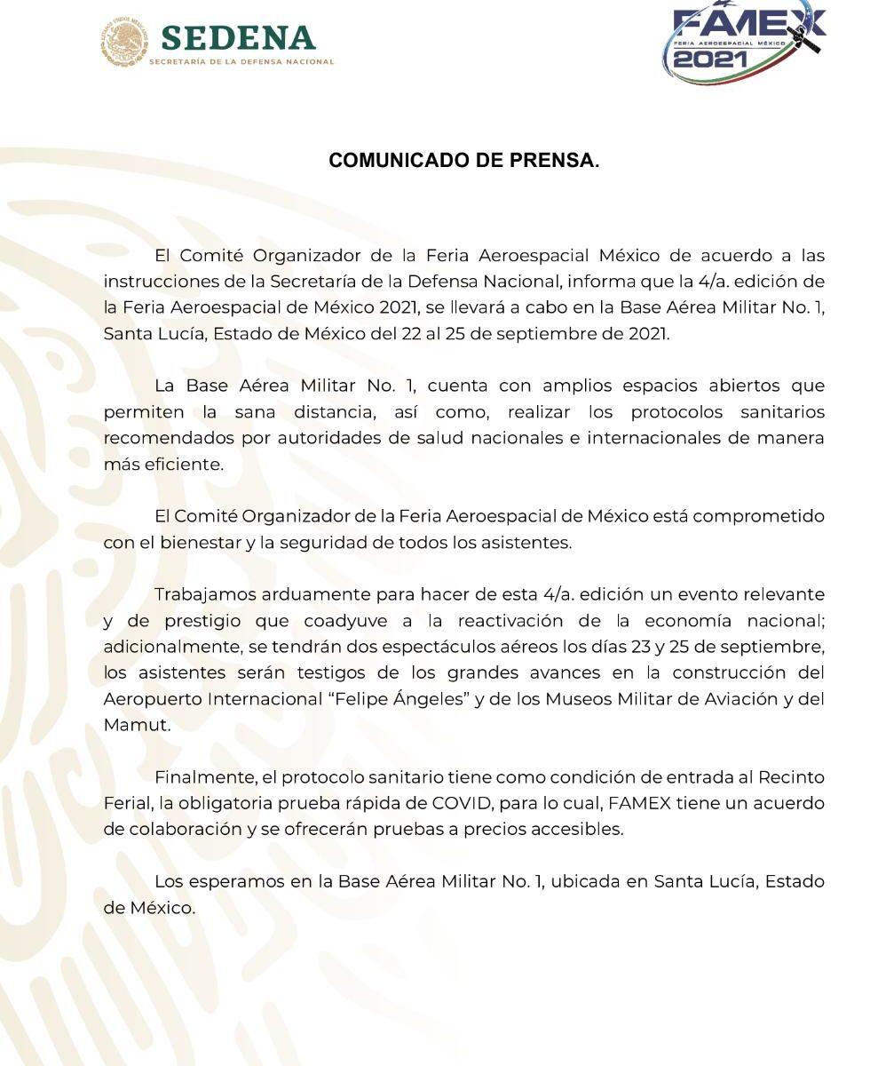 FAMEX 2021 sí se realizará, pero en Santa Lucía