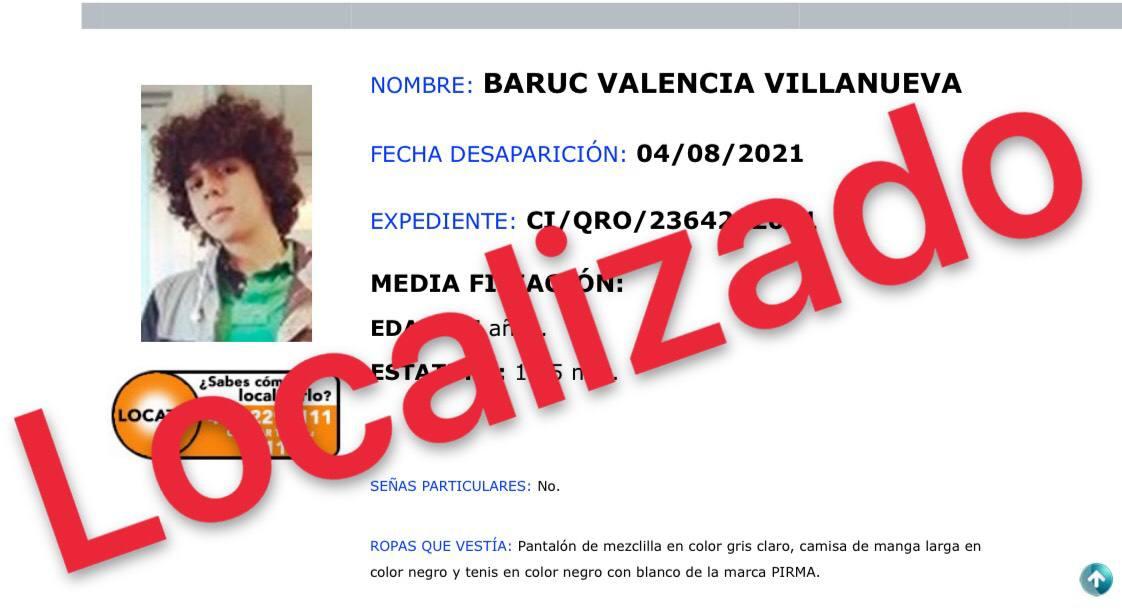 La #FiscalíaQro informa que se ha localizado sano y salvo a Baruc