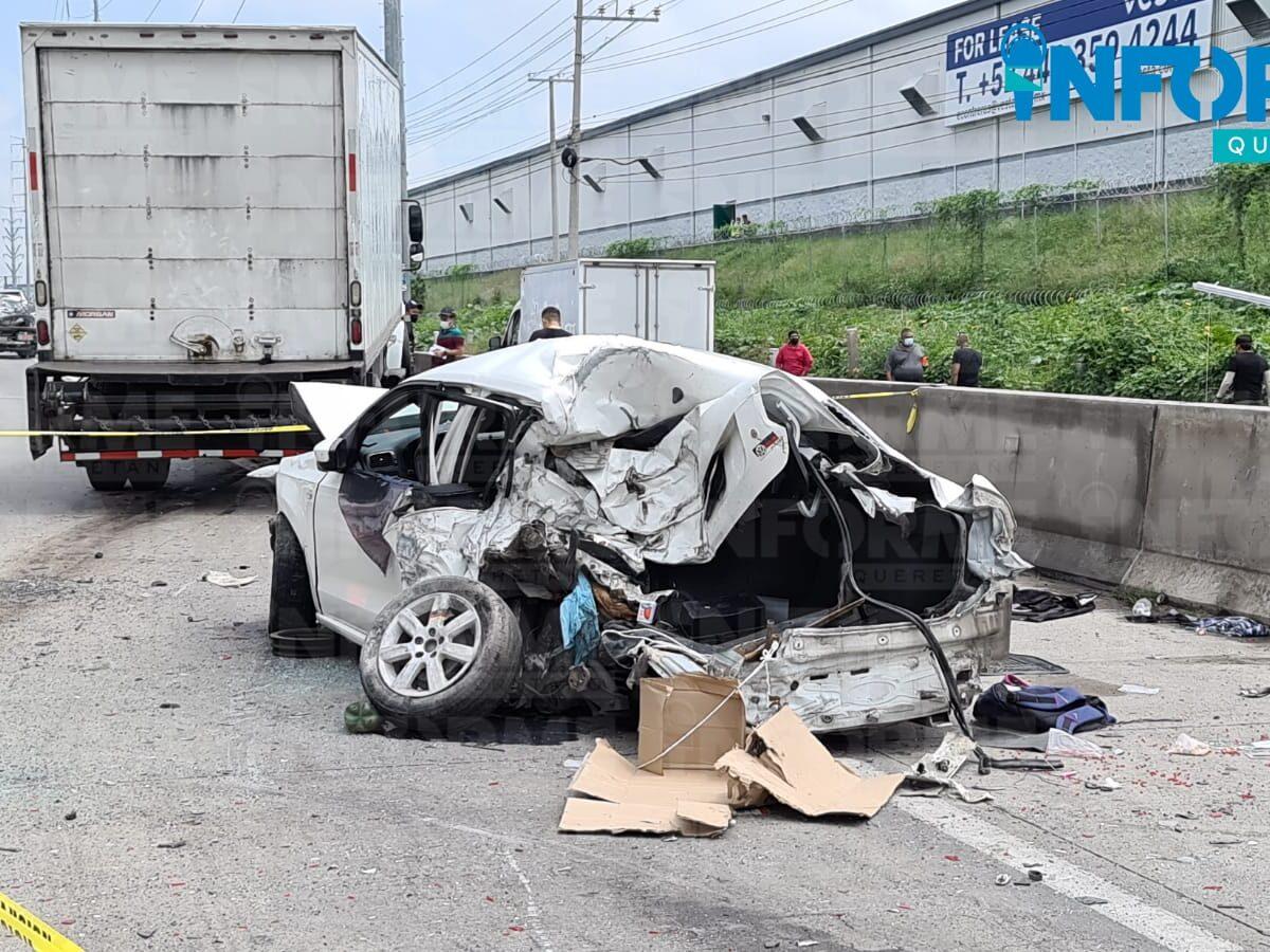 Fatal carambola en la México Querétaro a la altura del Parque Industrial Bernardo Quintana