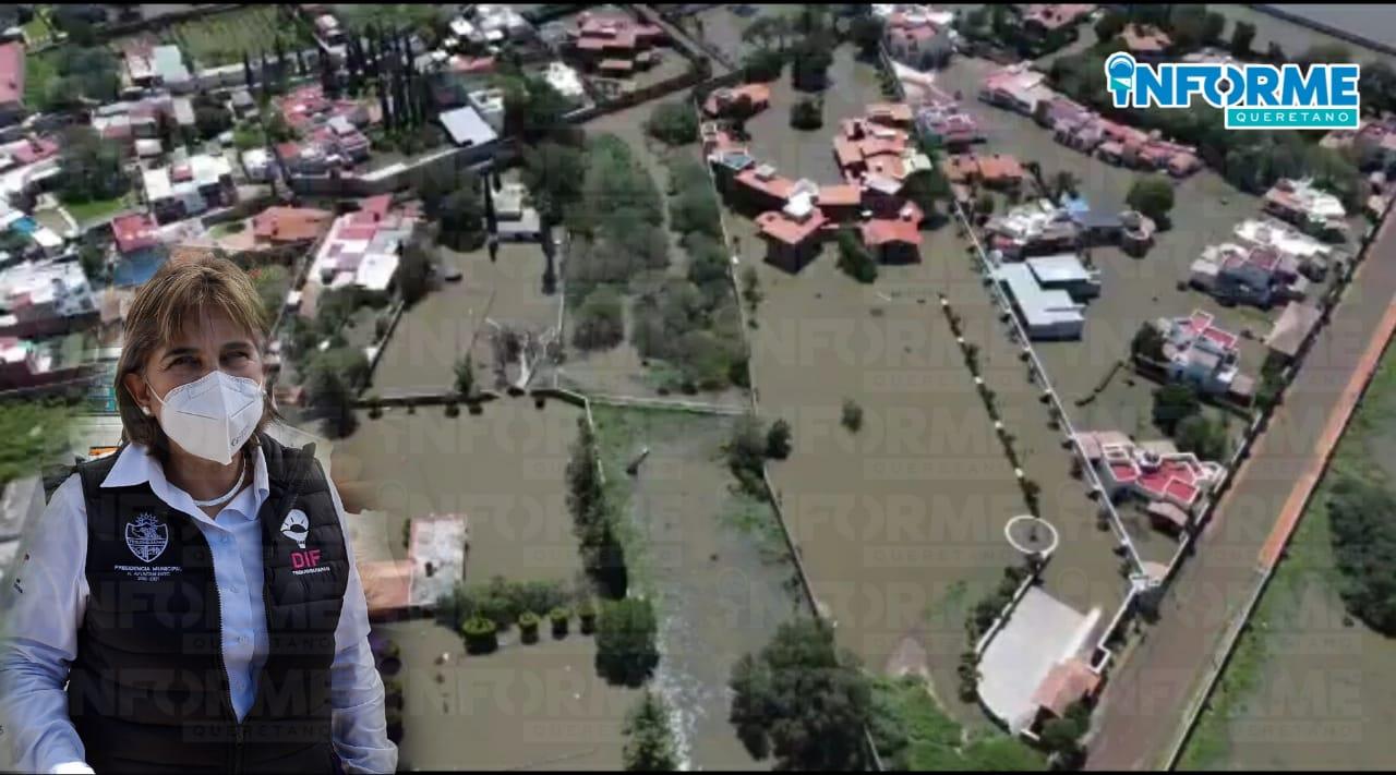 Presidenta del DIF de Tequisquiapan recorrió la zonas afectadas por las inundaciones