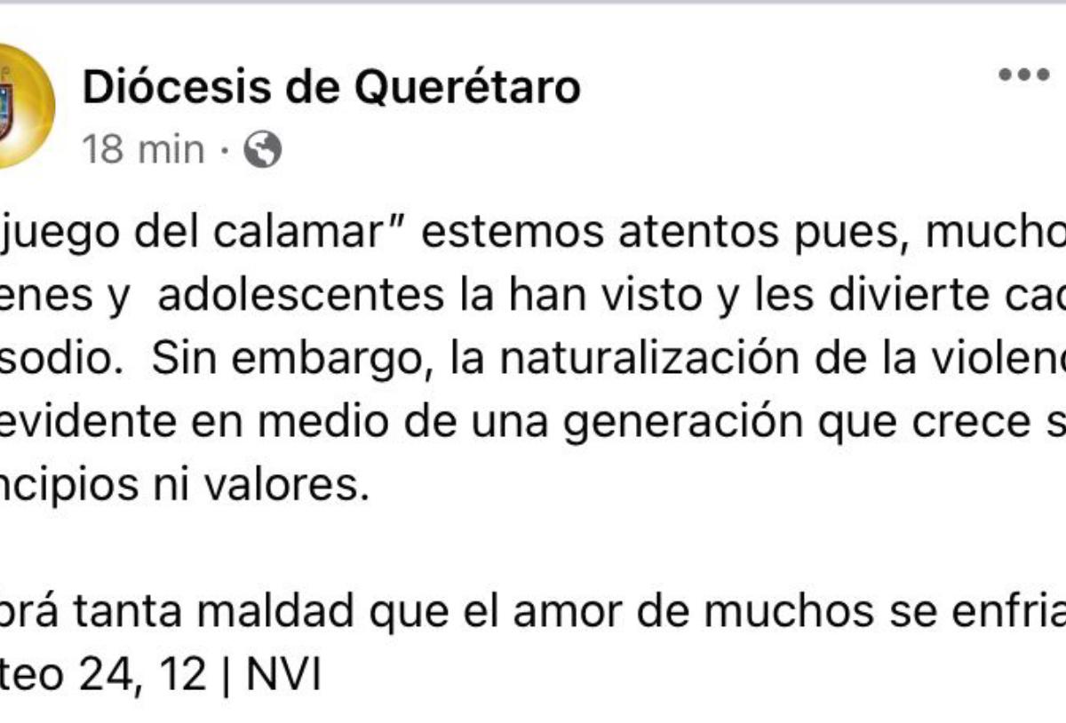 """Diócesis de Querétaro se opone al """"El Juego del Calamar"""""""